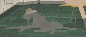 A screenshot of Blue, a gray, lanky pointer dog who wears a tan straw hat. She's lying on the ground, a green carpet. Kentucky Route Zero, Cardboard Computer, Annapurna Interactive, 2013.